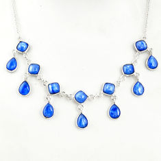 21.81cts natural blue kyanite 925 sterling silver necklace jewelry r49383