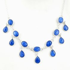 29.22cts natural blue kyanite 925 sterling silver necklace jewelry r49387