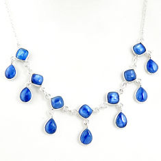 21.81cts natural blue kyanite 925 sterling silver necklace jewelry r49393