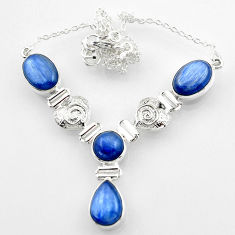 26.84cts natural blue kyanite 925 sterling silver necklace jewelry r52315