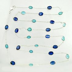29.72cts natural blue kyanite aquamarine 925 silver chain necklace r31468