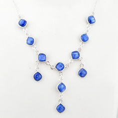 16.87cts natural blue kyanite cushion sterling silver necklace jewelry t2494
