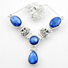 25.34cts natural blue kyanite pear 925 sterling silver necklace jewelry r52318
