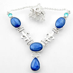 28.34cts natural blue kyanite topaz 925 sterling silver necklace jewelry r52319