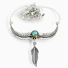 2.91cts natural blue labradorite 925 silver dreamcatcher necklace r77787