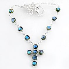 19.86cts natural blue labradorite 925 sterling silver cross necklace r71995