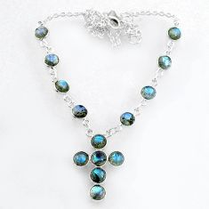 19.86cts natural blue labradorite 925 sterling silver cross necklace r71996