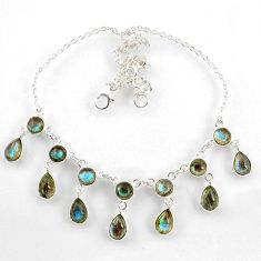 23.39cts natural blue labradorite 925 sterling silver necklace jewelry r60774