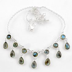 23.36cts natural blue labradorite 925 sterling silver necklace jewelry r60775