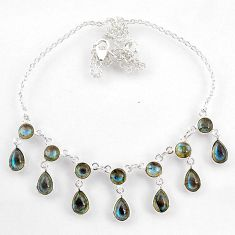 23.36cts natural blue labradorite 925 sterling silver necklace jewelry r60776