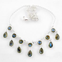 23.36cts natural blue labradorite 925 sterling silver necklace jewelry r60778