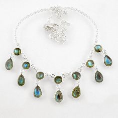 23.36cts natural blue labradorite 925 sterling silver necklace jewelry r60779