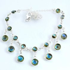 25.26cts natural blue labradorite 925 sterling silver necklace jewelry r69361