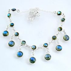25.70cts natural blue labradorite 925 sterling silver necklace jewelry r69363