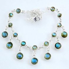 25.26cts natural blue labradorite 925 sterling silver necklace jewelry r69365