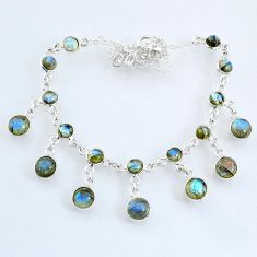 25.59cts natural blue labradorite 925 sterling silver necklace jewelry r69367