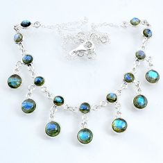 25.63cts natural blue labradorite 925 sterling silver necklace jewelry r69369