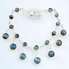 25.26cts natural blue labradorite 925 sterling silver necklace jewelry r69370
