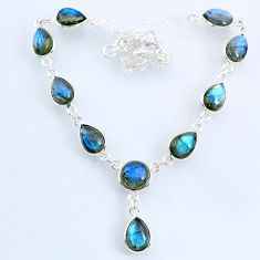 24.45cts natural blue labradorite 925 sterling silver necklace jewelry r69381
