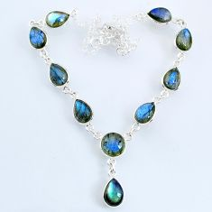 24.47cts natural blue labradorite 925 sterling silver necklace jewelry r69382