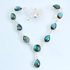 24.45cts natural blue labradorite 925 sterling silver necklace jewelry r69386