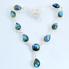 25.05cts natural blue labradorite 925 sterling silver necklace jewelry r69388