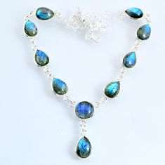 24.45cts natural blue labradorite 925 sterling silver necklace jewelry r69390