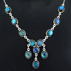 32.12cts natural blue labradorite 925 sterling silver necklace jewelry r94071