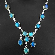 32.73cts natural blue labradorite 925 sterling silver necklace jewelry r94116