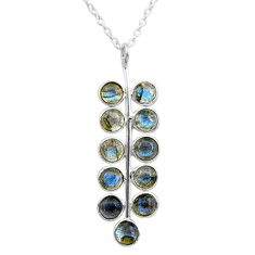 6.04cts natural blue labradorite 925 sterling silver necklace jewelry t12389