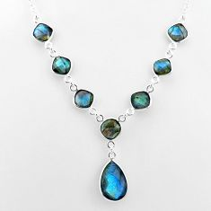 25.07cts natural blue labradorite 925 sterling silver necklace jewelry t16101