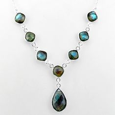 25.07cts natural blue labradorite 925 sterling silver necklace jewelry t16102