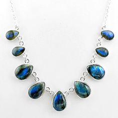 32.55cts natural blue labradorite 925 sterling silver necklace jewelry t16103