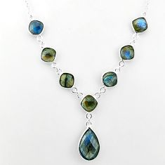 25.07cts natural blue labradorite 925 sterling silver necklace jewelry t16105