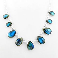 31.23cts natural blue labradorite 925 sterling silver necklace jewelry t16106