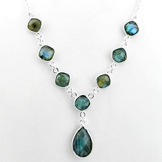 24.65cts natural blue labradorite 925 sterling silver necklace jewelry t16108