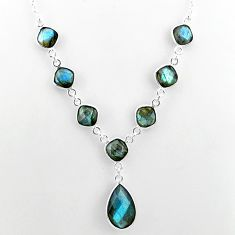 25.65cts natural blue labradorite 925 sterling silver necklace jewelry t16109
