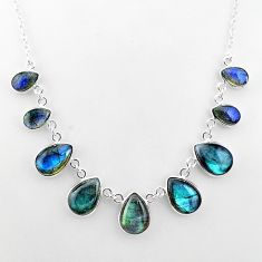 32.65cts natural blue labradorite 925 sterling silver necklace jewelry t16111