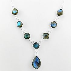 25.60cts natural blue labradorite 925 sterling silver necklace jewelry t16113