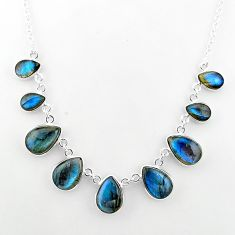 33.15cts natural blue labradorite 925 sterling silver necklace jewelry t16114