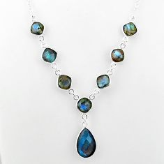 24.73cts natural blue labradorite 925 sterling silver necklace jewelry t16115