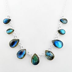 32.23cts natural blue labradorite 925 sterling silver necklace jewelry t16117