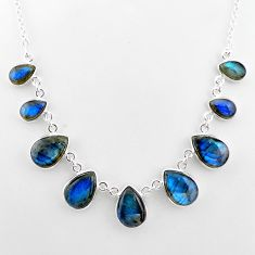 33.15cts natural blue labradorite 925 sterling silver necklace jewelry t16118