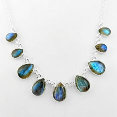 32.65cts natural blue labradorite 925 sterling silver necklace jewelry t16120