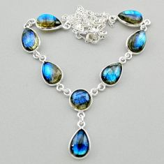 33.21cts natural blue labradorite 925 sterling silver necklace jewelry t26321