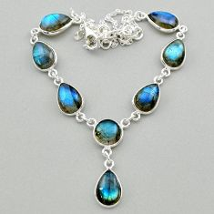 32.56cts natural blue labradorite 925 sterling silver necklace jewelry t26324