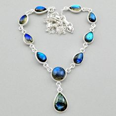 26.55cts natural blue labradorite 925 sterling silver necklace jewelry t26326
