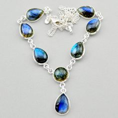 32.14cts natural blue labradorite 925 sterling silver necklace jewelry t26341