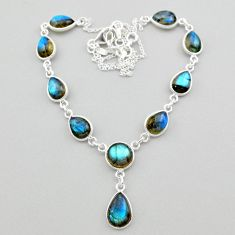 30.21cts natural blue labradorite 925 sterling silver necklace jewelry t26342