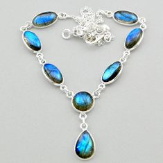 29.34cts natural blue labradorite 925 sterling silver necklace jewelry t26344
